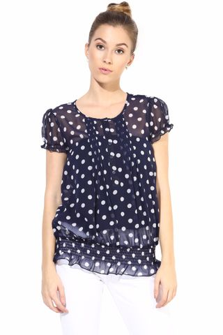 Blue  Casual Top In Printed Fabric/TSF400314