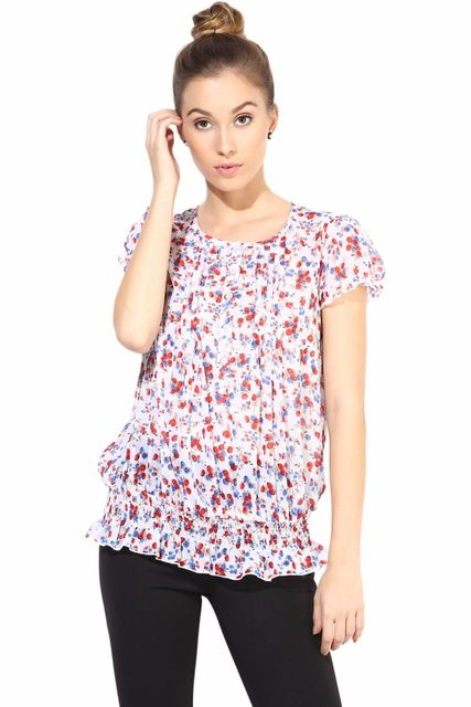 White  Casual Top In Printed Fabric/TSF400316