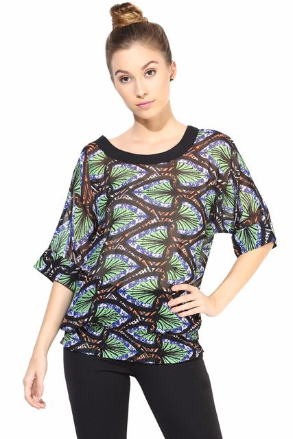 Black  Casual Top In Printed Fabric/TSF400321