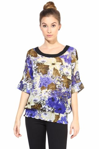 Blue  Casual Top In Printed Fabric/TSF400322