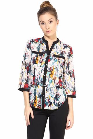 Multicolor   Casual Top In Printed Fabric/TSF400327