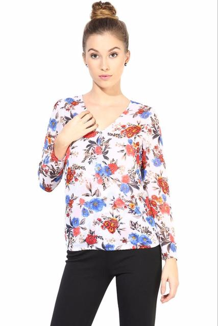 White  Casual Top In Printed Fabric/TSF400330