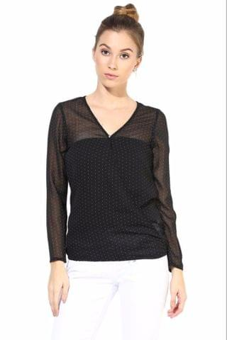 Black  Casual Top In Printed Fabric/TSF400333