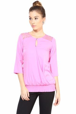 Casual Top With Lace At Yoke/TSF400345