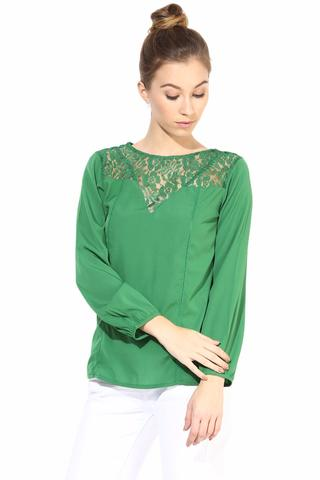 Full Sleeve Top With Lace At The Yoke/TSF400347