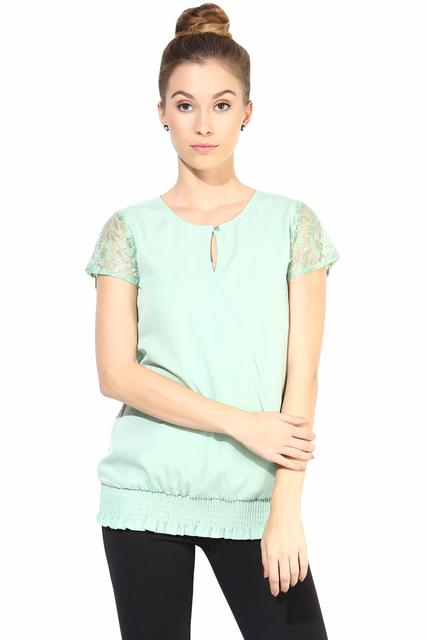 Full Sleeve Top With Lace At The Yoke/TSF400349