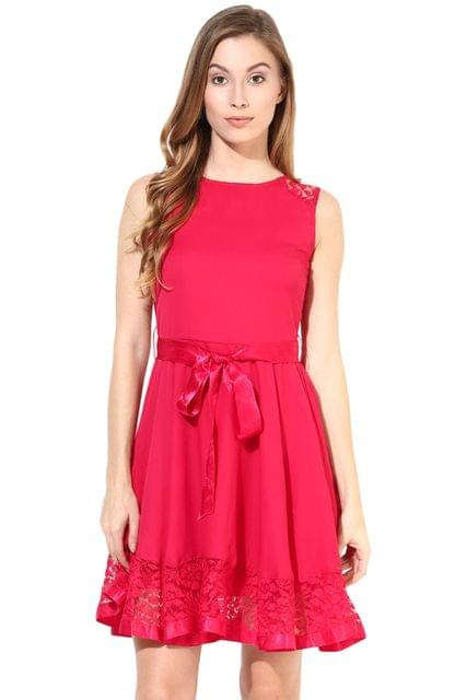 Dress With Lace At The Bottom In Fuchsia Color/DRF500264
