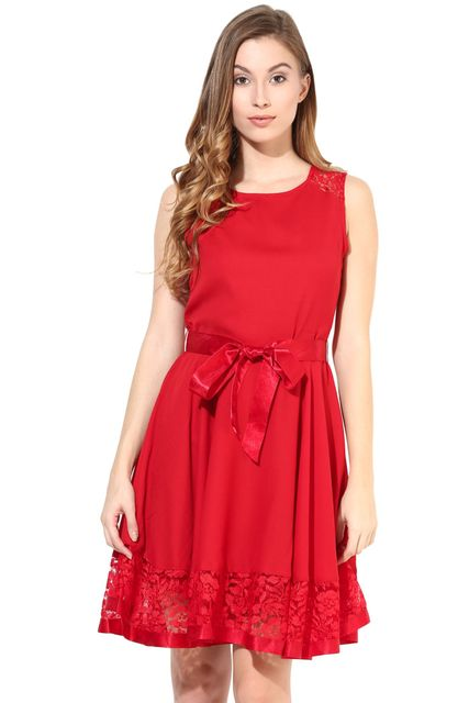 Dress With Lace At The Bottom In Red Color/DRF500265