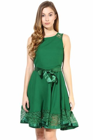 Dress With Lace At The Bottom In Green Color/DRF500267