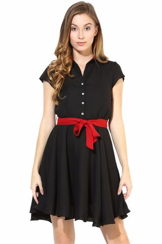 Casual Skater Dress In Black Color With Collar/DRF500271