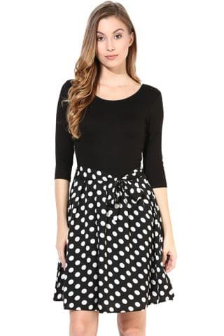 Black Knit Dress With Polka Print Bottom/DRF500275