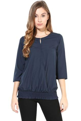 Blue Color Casual 3/ 4 Wrap Top/TSF400391