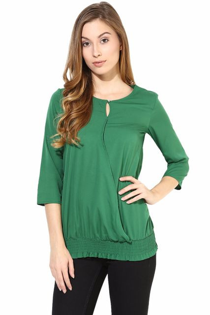 Green Color Casual 3/ 4 Top/TSF400394