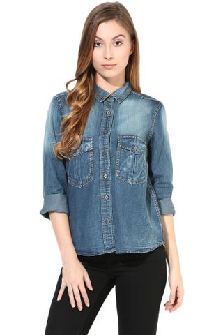 Denim Shirt In Blue Light Wash/TSF400396