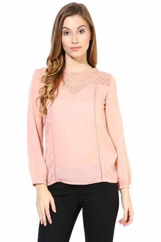 Peach Color Top With Lace At The Yoke/TSF400397