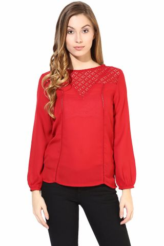 Red Color Top With Lace At The Yoke/TSF400398