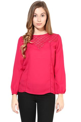 Fuchsia Color Top With Lace At The Yoke/TSF400400