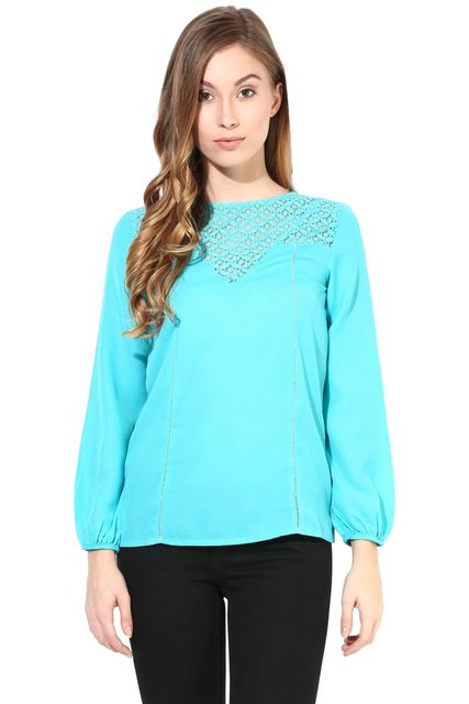 Teal Color Top With Lace At The Yoke/TSF400401