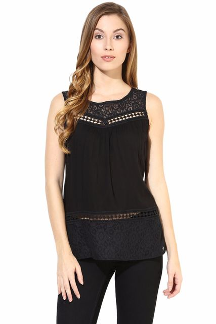 Top With Lace At Neck And Back In Black Color/TSF400408
