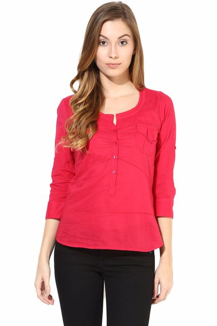 Casual Top With Fagetting Detail In Fuchsia Color/TSF400409
