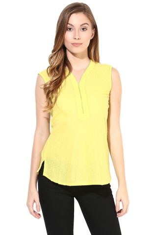 Top In Cotton Swiss Dot Fabric-Yellow Color/TSF400412