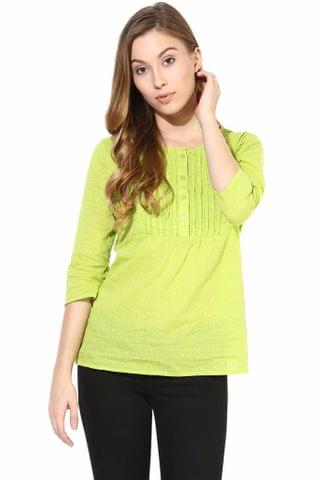 Top In Cotton Swiss Dot Fabric-Green Color/TSF400413