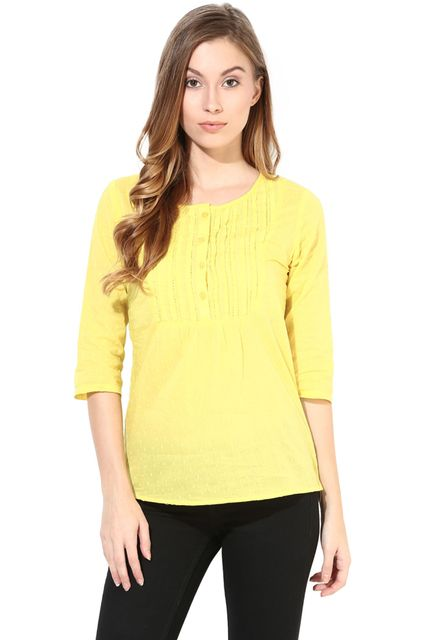 Top In Cotton Swiss Dot Fabric-Yellow Color/TSF400414