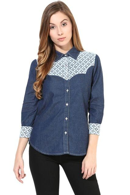 Denim Shirt With Lace/TSF400427