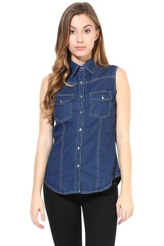Sleeveless Denim Shirt/TSF400428