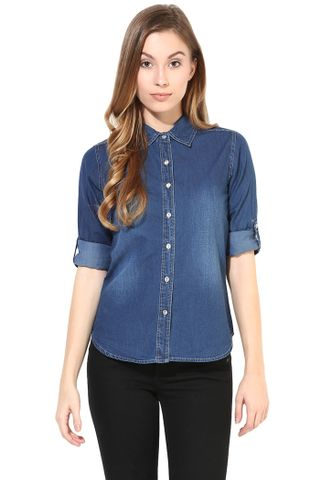 Denim Shirt In Blue Dark Wash/TSF400395