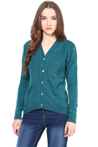 Dark Green V Neck Line With Cable Design/SWF460007