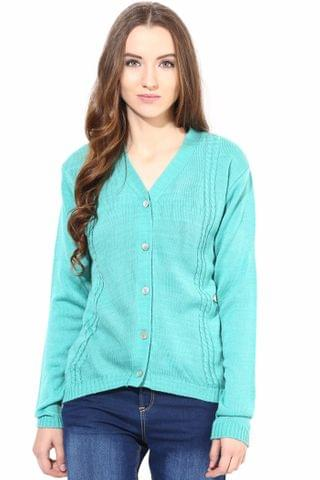 Green V Neck Line With Cable Design/SWF460009