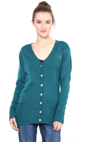 Green V Neck Line With Pockets/SWF460042