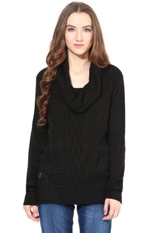 Black Cowl Cable Knit/SWF460053