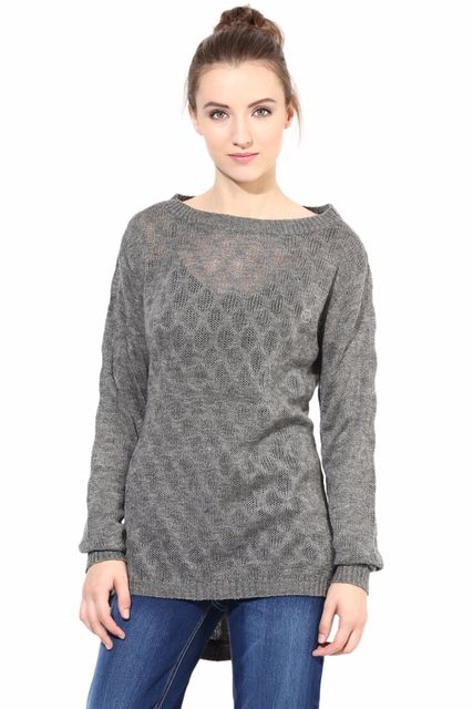 Grey Pullover With Round Neck Line/SWF460047