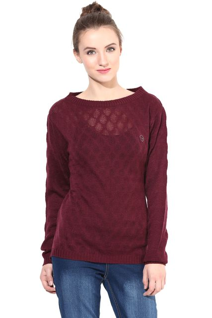 Marsala Pullover With Round Neck Line/SWF460049