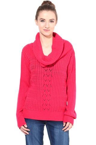 Pink Cowl Cable Knit/SWF460055