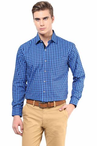 Premium  100% Cotton Check Shirt Blue Color/SRM820090