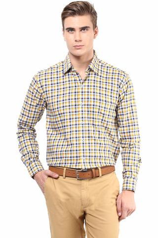 Premium  100% Cotton Check Shirt Yellow Color/SRM820099