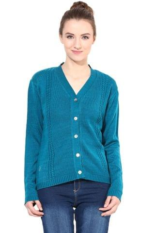 Teal V Neck Line With Cable Design/SWF460005