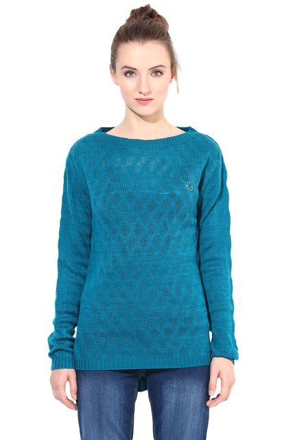 Teal Pullover With Round Neck Line/SWF460051
