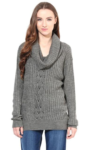 Grey Cowl Cable Knit/SWF460054