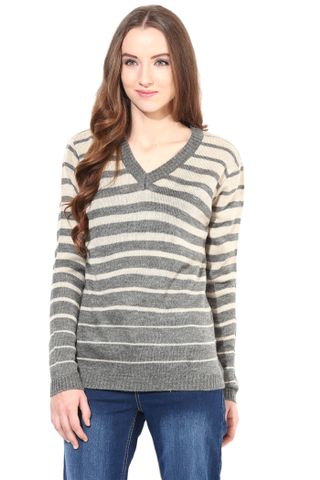 Sweater In Charcoal And Off White Color Thin Stripes/SWF460072
