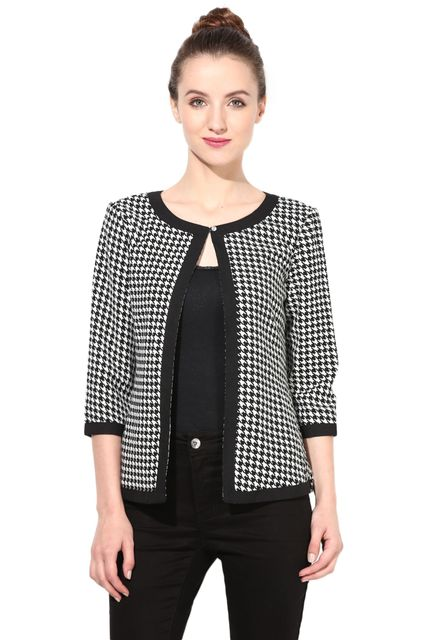 Houndstooth Light Weight Short Jacket In Black Checks/JKF450020