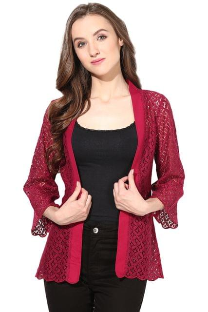 Light Weight Shrug In Lace Fabric Marsala Color/JKF450093
