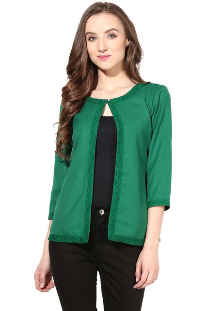 Light Weight Short Jacket In Lace Fabric Green Color/JKF450111
