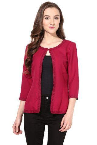 Light Weight Short Jacket In Lace Fabric Marsala Color/JKF450114