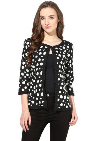 Light Weight Short Jacket In Distressed Polka Print/JKF450115