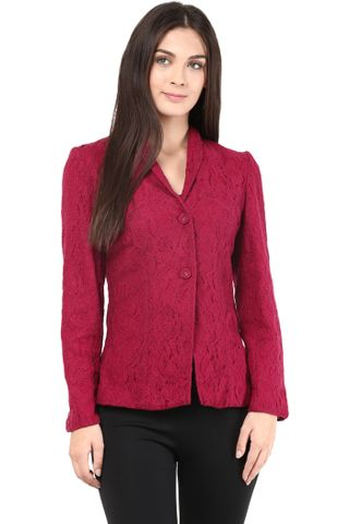 Lace Light Weight Jacket In Marsala Color/JKF450024