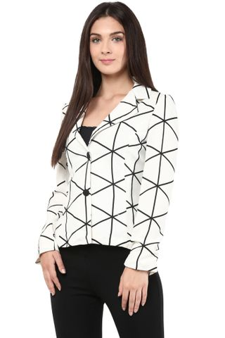 Geometric Print Light Weight Jacket In Off White/JKF450112